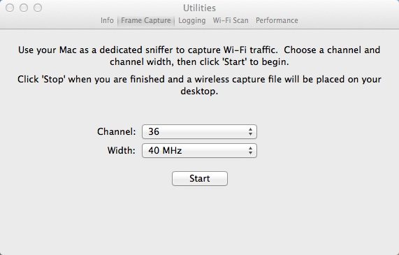 OS X GUI WLAN Capture Tool