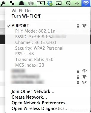OS X WLAN Advanced Settings